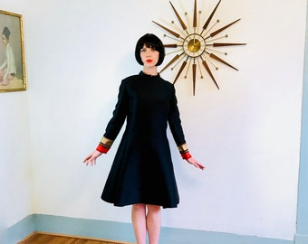 60s Mod dress, Sacks Fifth Avenue, Black Mod dress, 1960s A-Line shift, Atomic Space Age, 60s cocktail dress, Structrual Dress, High collar