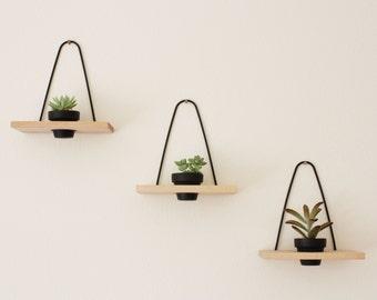 Modern Hanging Wall Planter Maple
