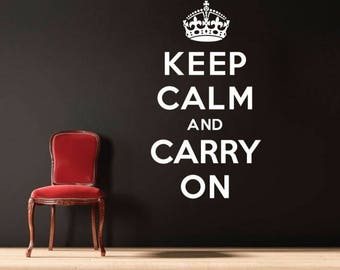 WD101078 | Keep Calm and Carry On - Quote Vinyl Wall Art Sticker