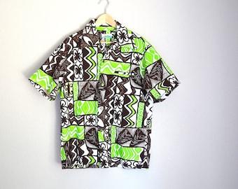 Vintage 60s 70s Green Brown Hawaiian Tiki Luau Shirt // mens medium