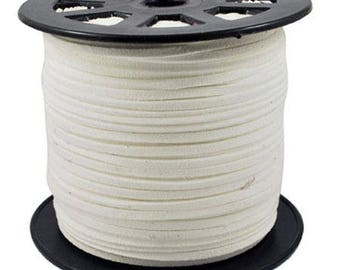 White Suede, faux suede, 3mm sold per 1 M cord
