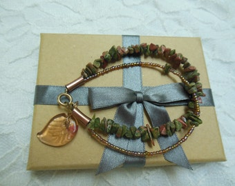Green and Coral Unakite Chip Bracelet