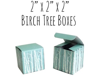 """10 Pack of 2 x 2 x 2"""" Square Winter Light Blue Boxes with Silver and White Birch Trees, Wedding Favor Boxes, Gift Box, Cardboard Box"""