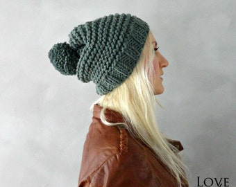Hand Knitted Pompon Beanie Slouchy Pompom Beanie Chunky Slouchy Pompom Beanie Hats Handmade Knit Hats Pom Pom Beanie Mens Knit Hats Womens