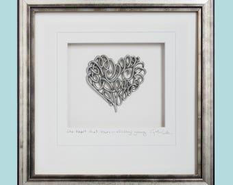 Scroll Heart, Pewter, Framed