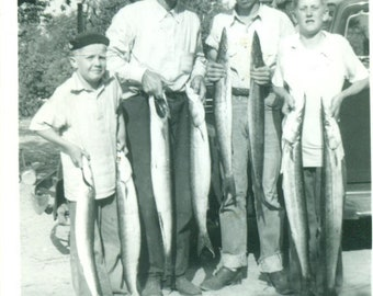 1950s Fishing Texas Style Men Boys Big Fish Western Cowboy Hats Vintage Black White Photo Photograph Lake Cabin Decor Photography Prop