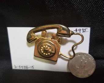 Brooch brass old telephone