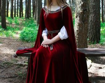 Velvet medieval dress; fantasy costume; elven dress; wedding dress; fantrasy wedding dress; cosplay; wedding