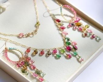 Watermelon Tourmaline Jewelry Set, Watermelon Tourmaline Necklace Tourmaline Chandelier Earrings Wire Wrapped Gold Filled Rainbow Tourmaline