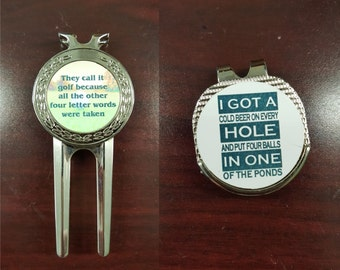 Divot repair and hat clip set, personalized divot repair tool, personalized hat clip ball marker, personalized golf tool sets