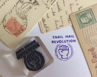 Snail Mail Stamp ~ pen pal rubber stamp, revolution, resist, fist, letter writing, postcrossing, postcard id, air mail, cute packaging