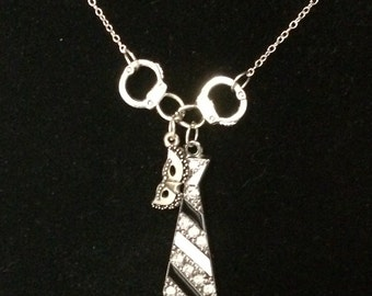 Fifty shades of grey inspired necklace, rhinestone tie.
