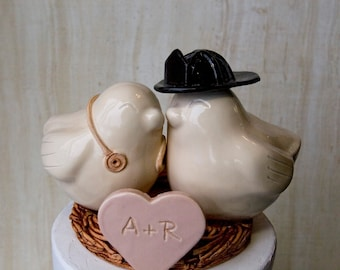 Firefighter and Nurse Wedding Cake Topper