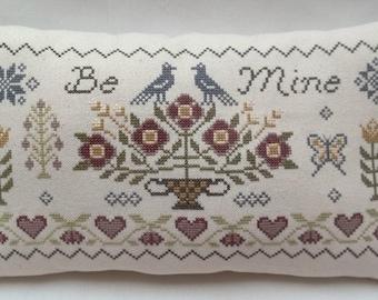 Sampler Cross Stitch Primitive Accent Pillow Be Mine