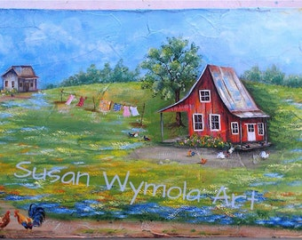 "11"" x 27"" #685 Country Folk Art Scene on Rustic Wood"