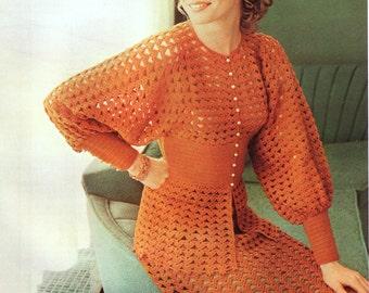 INSTANT DOWNLOAD PDF Vintage Crochet Pattern   Crochet Suit  Blouse and  Skirt Retro