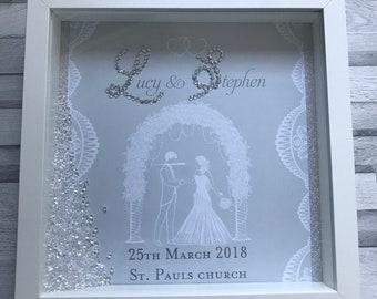 Personalised wedding box frame, wedding gift, 3D box frame.