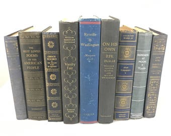 DECORATIVE Dark to Deep Blue Antiqued Set of Books for Display