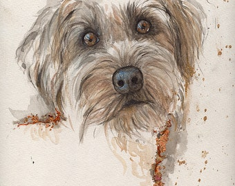 portrait of a dog original gilded watercolour painting