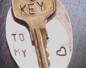 """UpCycled Spoon And Key Necklace, """"Key To My Heart"""""""