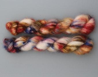 Handdyed kidmohair silk - Burgundy dreams
