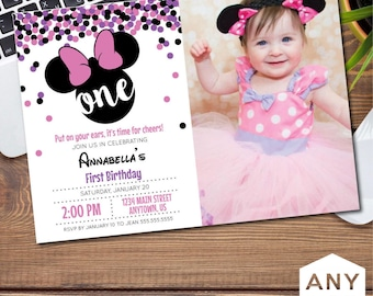 Minnie Mouse Birthday (with Photo) Invitation/Announcement