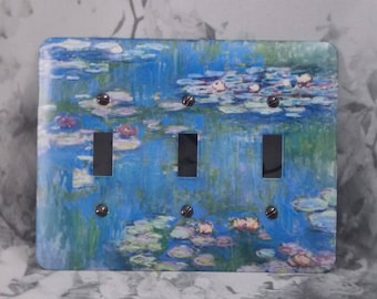 Metal Monet Triple Toggle Light Switch Covers - Water Lilies 1916 - 3T 3 toggle