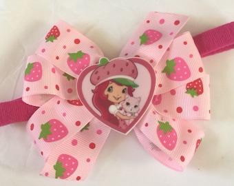 Strawberry  girl headband stretch headband  girls boutique  hair bows