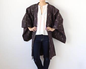 stripe silk kimono jacket, Haori, kimono jacket, Japanese kimono, stripe haori, vintage silk jacket, silk haori, womens kimono /1639