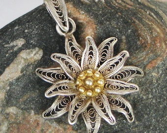 Vintage Silver Filigree Edelweiss Pendant, Gold Detail, Filigree Flower Pendant, 800 Silver