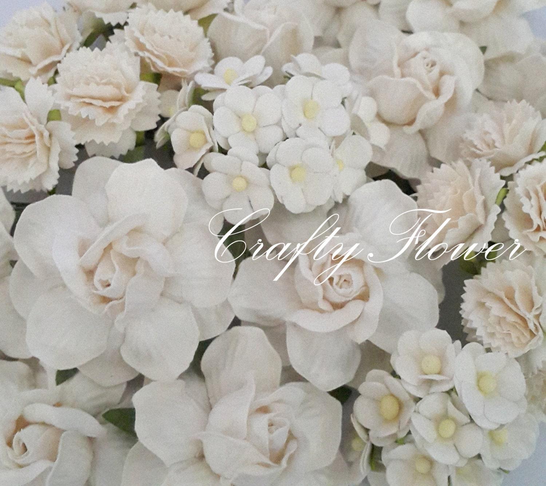 50 WHITE Mixed Roses Carnation Paper Flowers Scrapbooks DIY Wedding ...