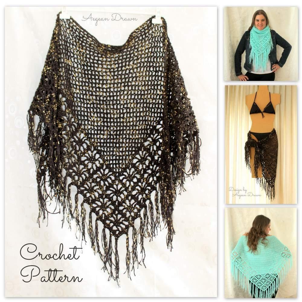 Crochet Shawl Pattern, Crochet Cover Up Pattern, Crochet Fringe ...