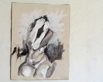 Original Tempera Painting on paper, silver grey nude No.16 by juliacalimera