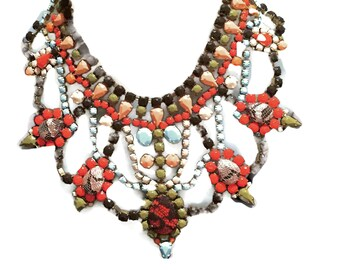 DIRTY TANGELLO olive green cream, soft turquoise, brown & orange painted rhinestone bib necklace