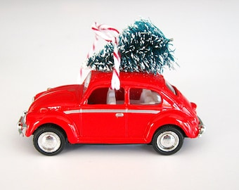 VW Bug Beetle Christmas Ornament with Tree on Top