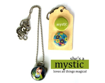 MYSTIC Locket Necklace, Gift for PreTeen, Teen Girl, Archetype Jewelry, Magnetic, Interchangeable, 3 Necklaces in 1, Polarity, Solocosmo