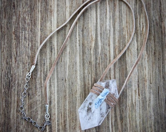 Leather wrapped Diamond Quartz Necklace