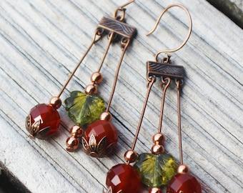 Autumn Berry Copper Earrings
