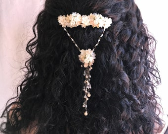 Off White Beaded Hanging Barrete by Vintage Jewelry Designer Colleen Toland