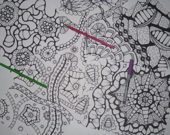 Instant Download Doodle Coloring Pages - 5 Printable Designs  - Set 19