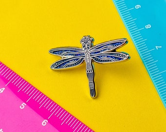 Navy Dragonfly Pin / Cute Pin / Dragonfly Gift / Animal Enamel Pin / Glitter Dragonfly Lapel Pin / Animal Pin / Cute Dragonfly Pin