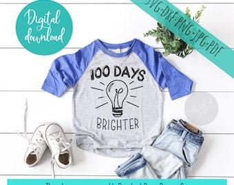 100 days of school svg, school svg, 100 days brighter, svg files sayings, cricut clip art cut files, commercial digital download