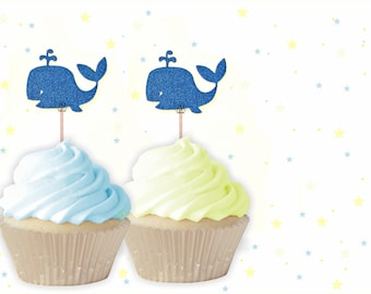 Whale Cupcake Toppers - Nautical Cupcake Topper, Whale Cupcake Toppers, Whale Birthday, Whale Party, Ocean Party