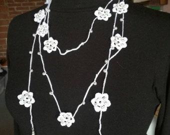 Beaded necklace with a single thread handmade crochet