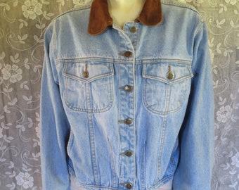 Vintage 1980s Rafaella Suede Collar Denim Jacket / Cropped Denim 1980s jacket / Size MEDIUM