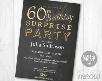 Items similar to SURPRISE 60th birthday invitations Gold Elegant