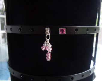D06 - Add-on Dangle of Pink Beads.   Mix & Match with Stud Earrings.  Crystal Jewelry.  Silver Jewelry.  White Gold. Wedding.  Bridal