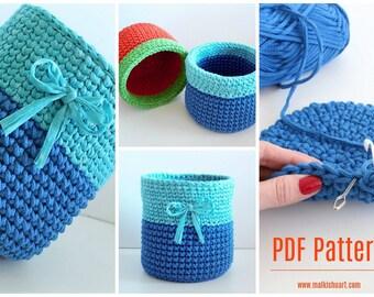 Crochet Basket Pattern, Basket pdf pattern, DIY crochet basket, Crochet storage bin PDF, Crochet storage bin pdf