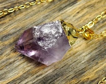 Amethyst Necklace, Amethyst Pendant Necklace, Amethyst Gold Necklace, Raw Amethyst Point Necklace, Purple Amethyst, 14k Gold Fill Chain