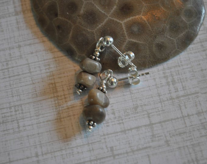Petoskey stone post earrings, Up North Michigan, Lake Michigan, sterling